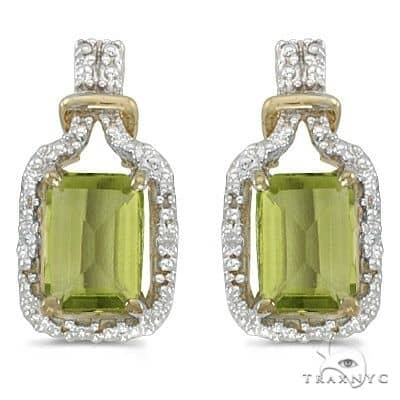 Emerald-Cut Peridot and Diamond Earrings 14k Yellow Gold Stone