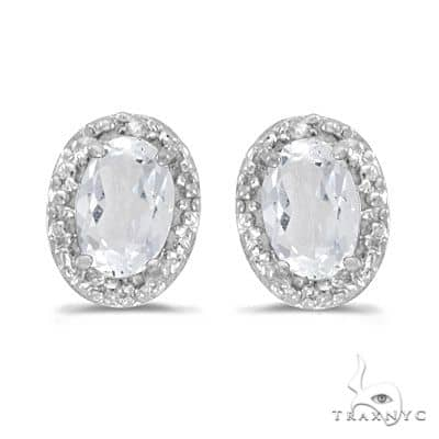 Diamond and White Topaz Earrings 14k White Gold (1.14ct) Stone