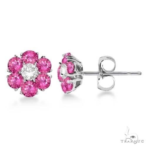 Pink Sapphire and Diamond Flower Cluster Earrings 14K W Gold Stone