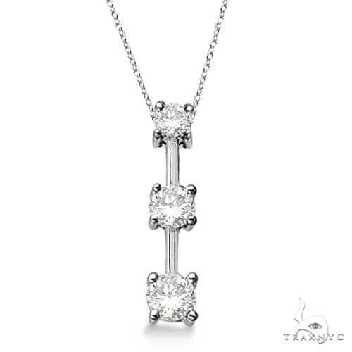 Three-Stone Graduated Diamond Pendant Necklace 14k White Gold Stone