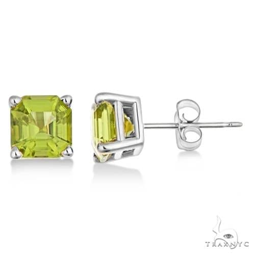 Asscher Cut Peridot Basket Stud Earrings 14k White Gold Stone