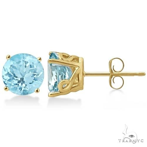 Antique Art Deco Aquamarine Stud Earrings 14k Yellow Gold Stone