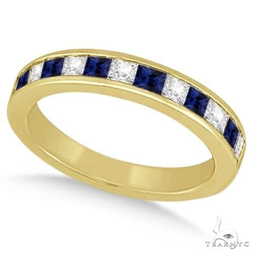 Channel Blue Sapphire and Diamond Wedding Ring 14k Yellow Gold Anniversary/Fashion