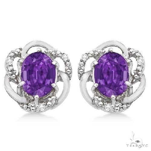 Oval Purple Amethyst and Diamond Earrings in 14K White Gold Stone