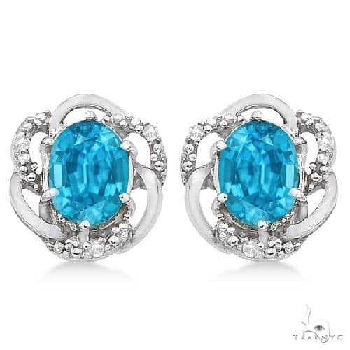 Oval Shaped Blue Topaz and Diamond Earrings in 14K White Gold Stone