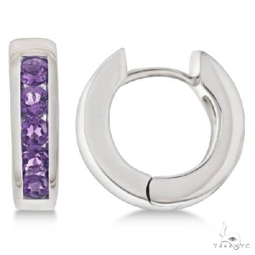 Purple Amethyst Hoop Earrings Channel Set Sterling Silver Stone