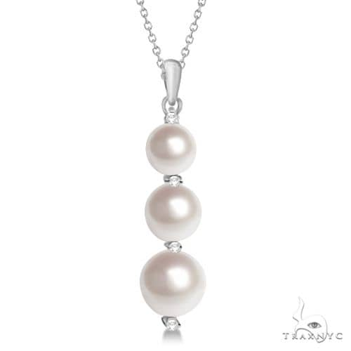 Freshwater Pearl and Diamond Drop Pendant 14K White Gold (6.5-9.0mm) Stone