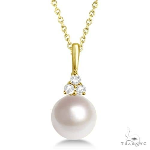AAA Quality Freshwater Pearl and Diamond Necklace 14K Yellow Gold (7.5-8mm) Stone