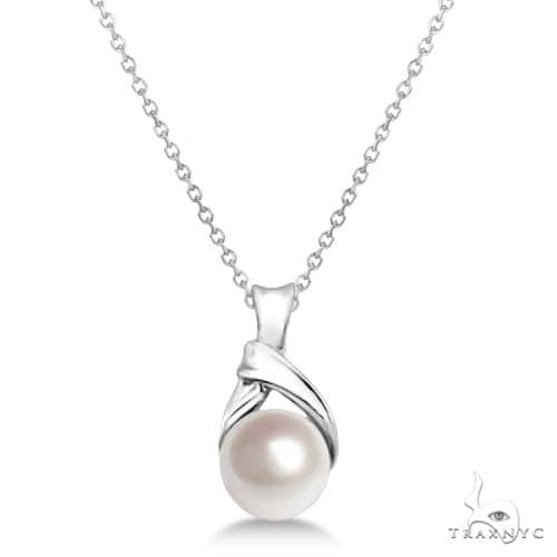 Akoya Cultured Pearl Necklace 14K White Gold Knot Design (6mm) Stone