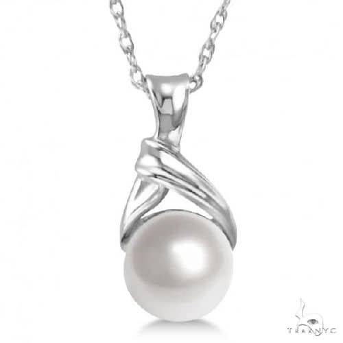 White Akoya Cultured Round Pearl Solitaire Pendant 14K White Gold 6mm Stone