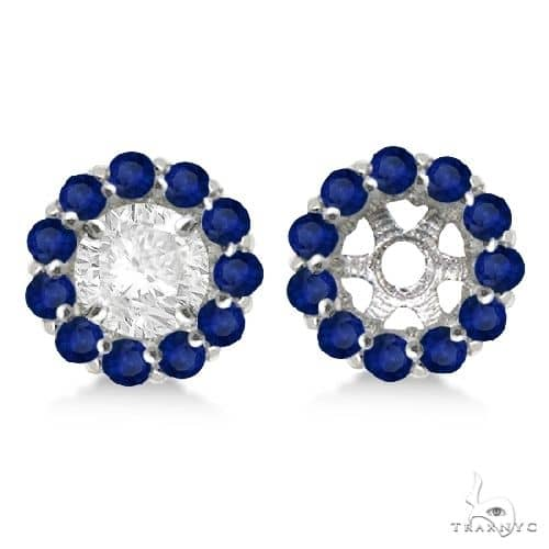Round Blue Sapphire Earring Jackets 8mm Studs 14K White Gold Stone