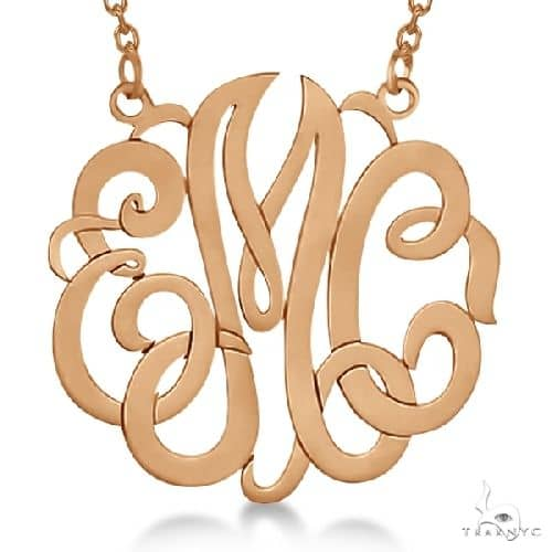 Personalized Monogram Pendant Necklace in 14k Rose Gold Metal