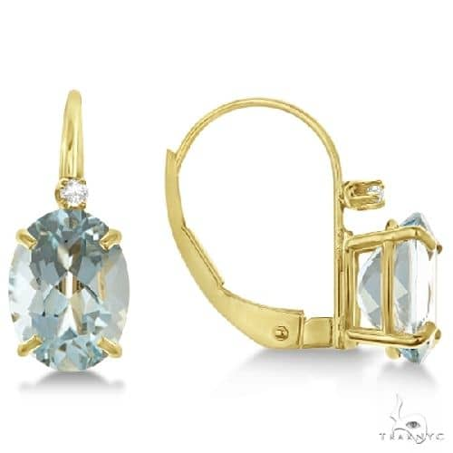 Aquamarine Drop Earrings with Accent Diamond 14K Yellow Gold Stone