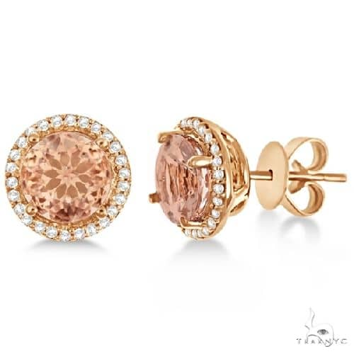 Round Morganite and Diamond Halo Stud Earrings 14k Rose Gold Stone