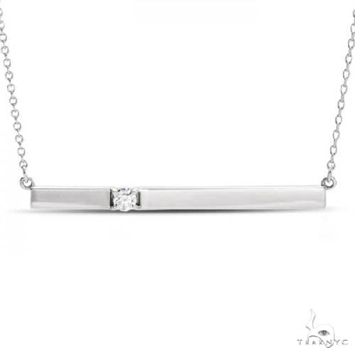 Horizontal Bar Necklace with Diamond Accent 14k White Gold Metal