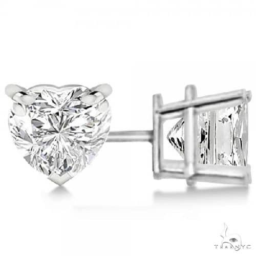 Heart-Cut Diamond Stud Earrings 14kt White Gold G-H, VS2-SI1 Stone