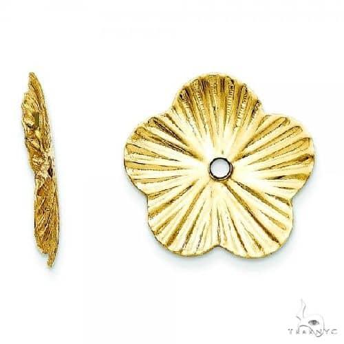 Flower Fancy Earring Jackets in Plain Metal 14k Yellow Gold Metal