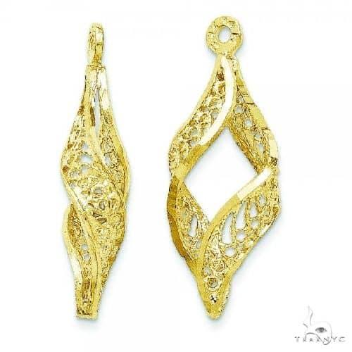Filigree Swirl Earring Jackets in Plain Metal 14k Yellow Gold Metal