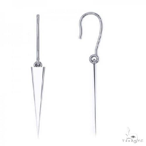 Dangling Spike Earrings in Plain Metal 14k White Gold Metal