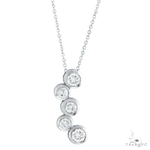 Bezel Set Five-Stone Diamond Pendant in 14k White Gold Stone