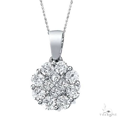 Diamond Clusters Flower Pendant Necklace in 14k White Gold Stone