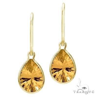 Bezel-Set Pear Citrine Dangling Earrings 14K Yellow Gold (10x7mm) Stone