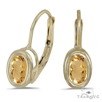 Bezel-Set Oval Citrine Lever-Back Earrings 14k Yellow Gold Stone