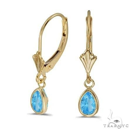 Blue Topaz Dangling Drop Lever-Back Earrings 14K Yellow Gold Stone