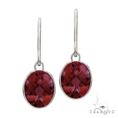 Concave Checker Oval Garnet Wrap Drop Earrings 14K White Gold (10x8mm) Stone