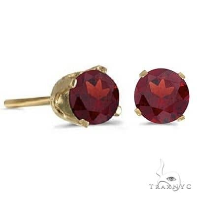 Garnet Stud Earrings January Birthstone 14k Yellow Gold Stone