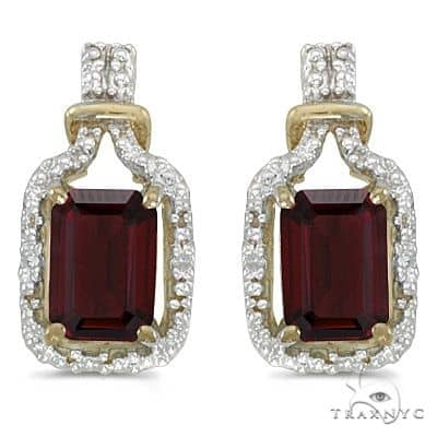 Emerald-Cut Garnet and Diamond Earrings 14k Yellow Gold Stone