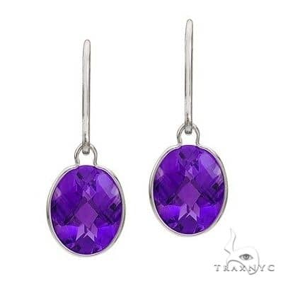 Concave Checker Oval Amethyst Wrap Drop Earrings 14K White Gold (10x8mm) Stone