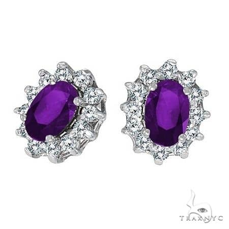 Oval Amethyst and Diamond Earrings 14K White Gold Stone