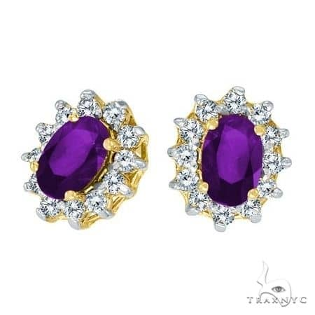 Oval Amethyst and Diamond Earrings 14K Yellow Gold Stone