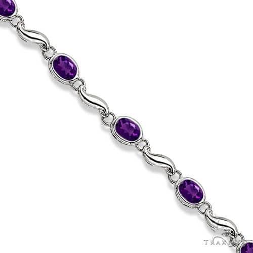 Bezel-Set Oval Amethyst Bracelet in 14K White Gold (7x5 mm) Gemstone & Pearl
