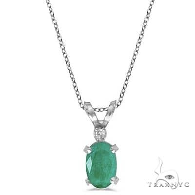 Emerald and Diamond Solitaire Filagree Pendant 14K White Gold Stone