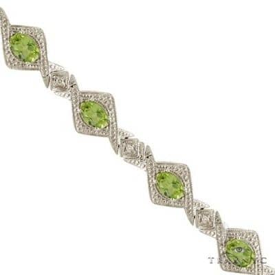 Antique Style Peridot and Diamond Link Bracelet 14k White Gold Gemstone & Pearl