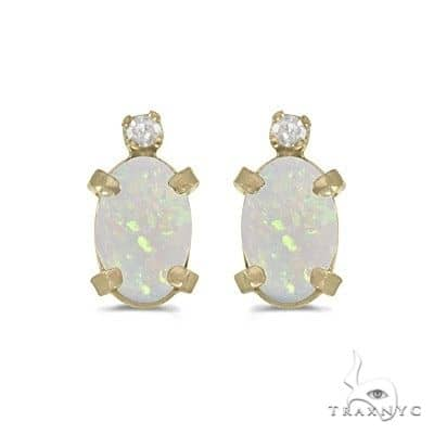 Oval Opal and Diamond Studs Earrings 14k Yellow Gold Stone