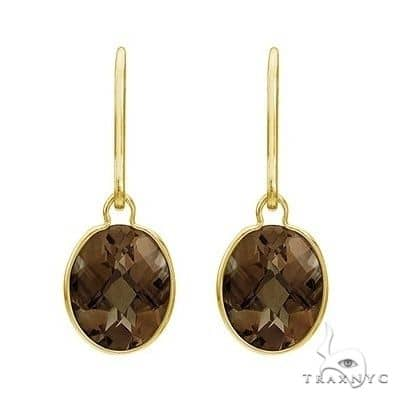 Concave Checker Oval Smoky Topaz Drop Earrings 14K Yellow Gold (10x8mm) Stone