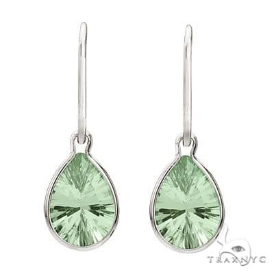 Pear Green Amethyst Drop Wire Wrap Earrings 14K White Gold (10x7mm) Stone