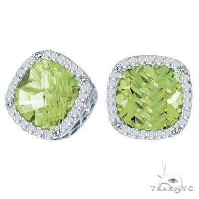 Cushion-Cut Peridot and Diamond Earrings in 14k White Gold Stone
