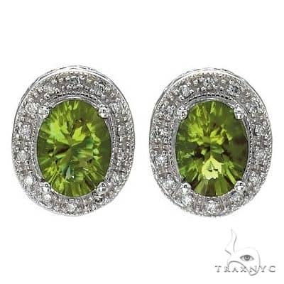 Oval Peridot and Diamond Earrings 14k White Gold (8x6mm) Stone