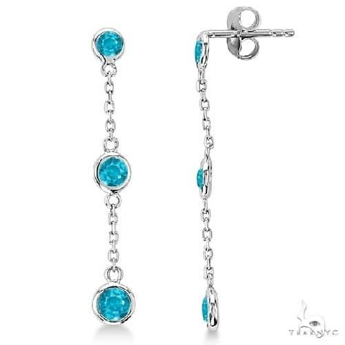 Blue Diamonds by The Yard Bezel Drop Earrings 14k White Gold Stone
