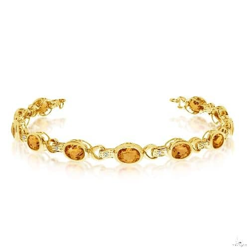 Oval Citrine and Diamond Link Bracelet 14k Yellow Gold Gemstone & Pearl