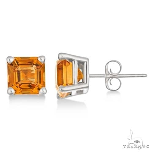 Asscher Cut Citrine Basket Stud Earrings 14k White Gold Stone
