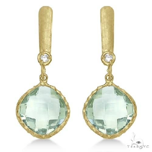 Green Amethyst and Diamond Drop Earrings 14k Yellow Gold Stone