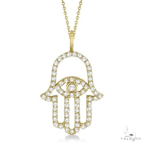 Diamond Hamsa Evil Eye Pendant Necklace 14k Yellow Gold Stone