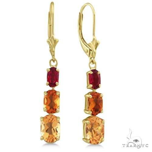 Dangle Drop Multi Color Citrine Earrings 14k Yellow Gold Stone