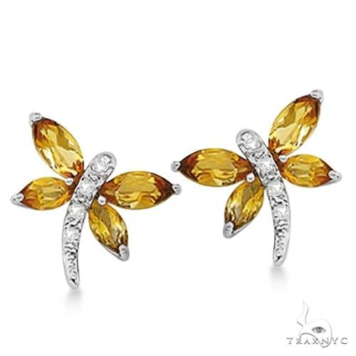Diamond and Citrine Dragonfly Earrings 14k White Gold Stone