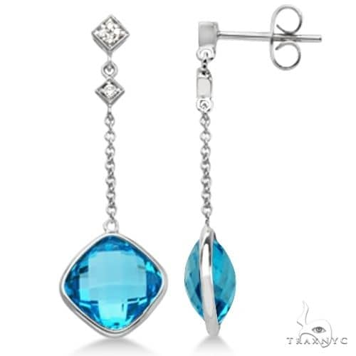 Diamond and Swiss Blue Topaz Drop Earrings 14k White Gold Stone